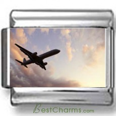 Airplane in Sky Photo Charm