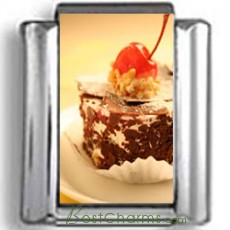 Chocolate and Cherry Dessert Photo Charm