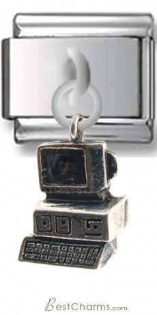 Computer Sterling Silver Italian Charm
