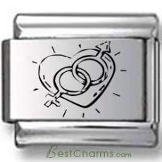 Heart with Man and Woman Symbols Laser Charm