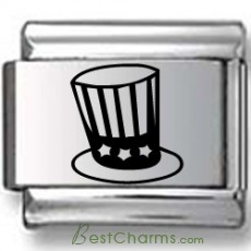 Patriotic Top Hat Laser Charm