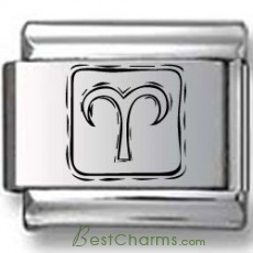 Symbolic Aries Icon in Box Black Laser Charm