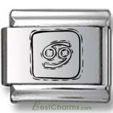 Symbolic Cancer Icon in Box Black Laser Charm