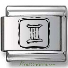 Symbolic Gemini Icon in Box Black Laser Charm