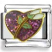 White Flower and Pink Heart Enamel Charm