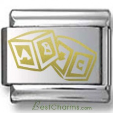 Alphabet Blocks Gold Laser Charm
