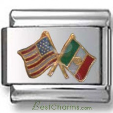 American and Mexican Flags Italian Charm