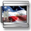 Eagle, Flag, and Towers Photo Charm
