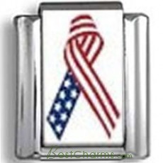 Flag Awareness Ribbon Photo Charm