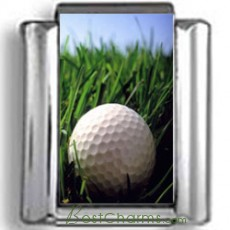Golf Ball in Grass Photo Charm