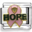 Hope Pink Ribbon Enamel Charm