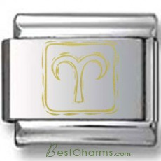 Symbolic Aries Icon in Box Gold Laser Charm