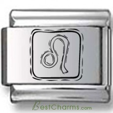Symbolic Leo Icon in Box Black Laser Charm