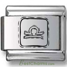 Symbolic Libra Icon in Box Black Laser Charm