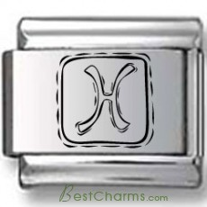 Symbolic Pisces Icon in Box Black Laser Charm