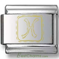 Symbolic Pisces Icon in Box Gold Laser Charm