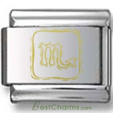 Symbolic Scorpio Icon in Gold Black Laser Charm